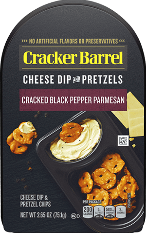 Cracked Black Pepper Parmesan Cheese Dip & Pretzels