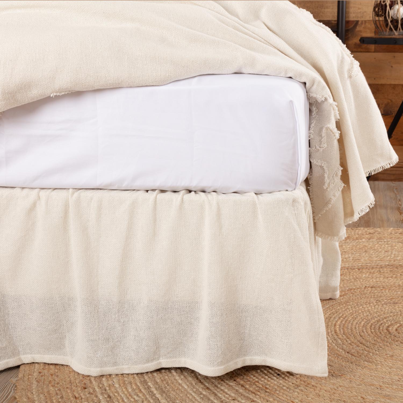 Burlap Antique White Ruffled King Bed Skirt 78x80x16