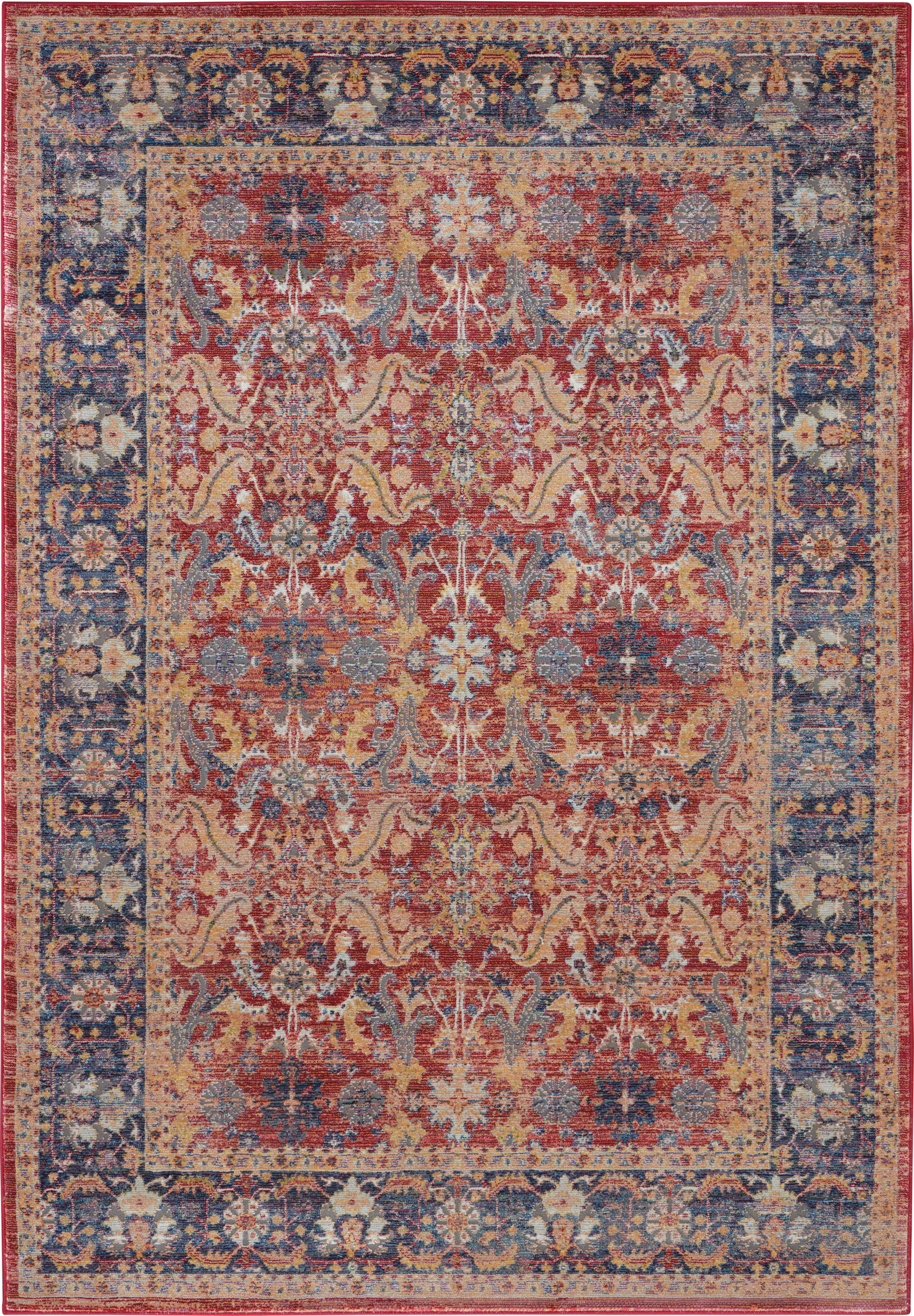 Nourison Ankara Global 4' X 6' Red And Blue Multicolor Persian Area Rug