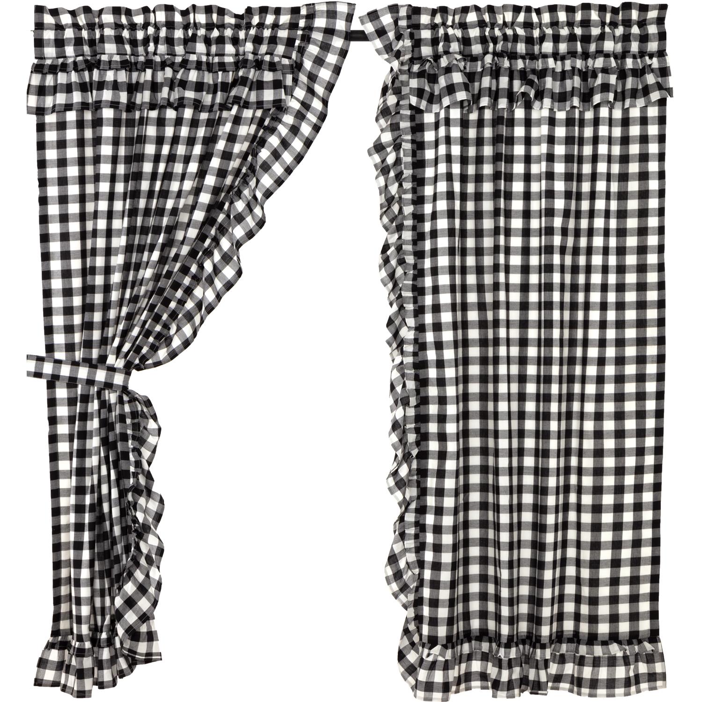Annie Buffalo Black Check Ruffled Short Panel Set of 2 63x36