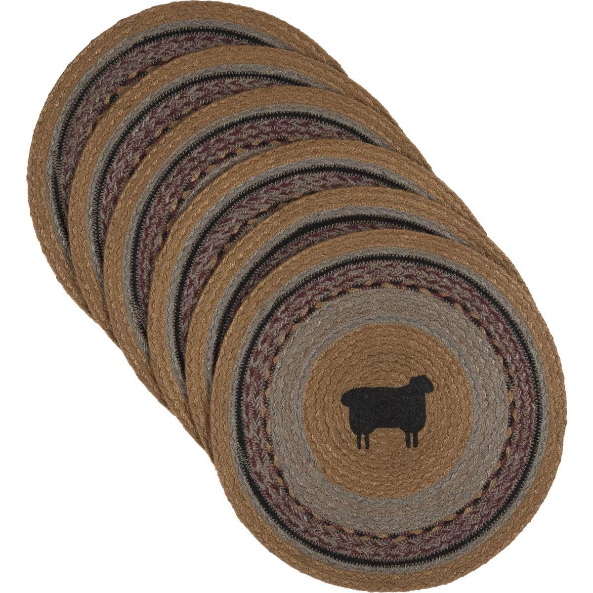 Heritage Farms Sheep Jute Tablemat 13 Set of 6