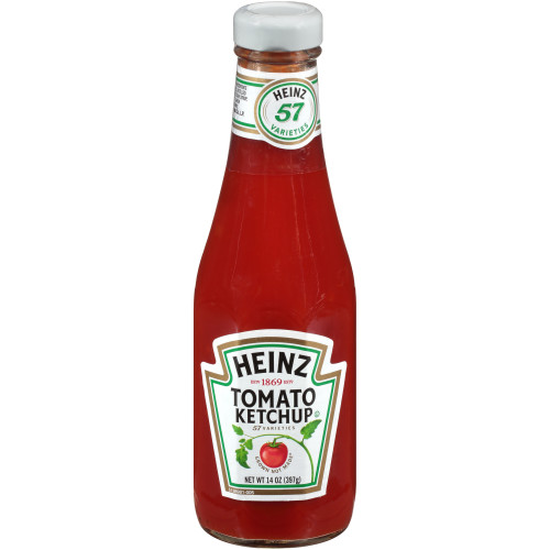 HEINZ Ketchup, 14 oz. Glass Bottles (Pack of 24)
