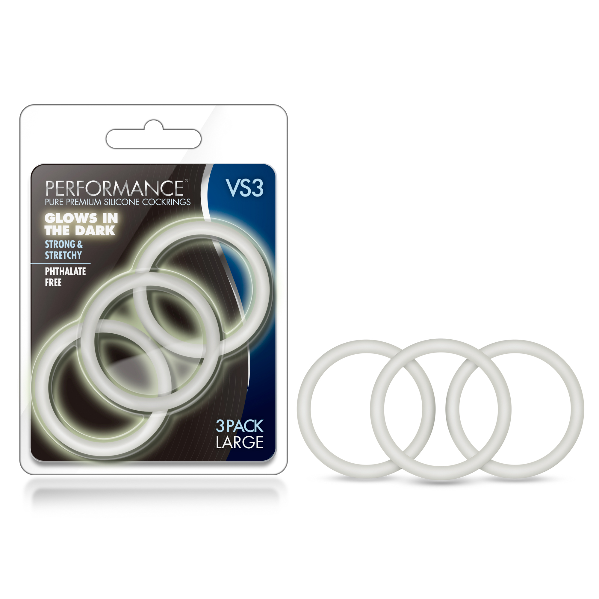 Performance - VS3 Pure Premium Silicone Cock Rings - Large - White