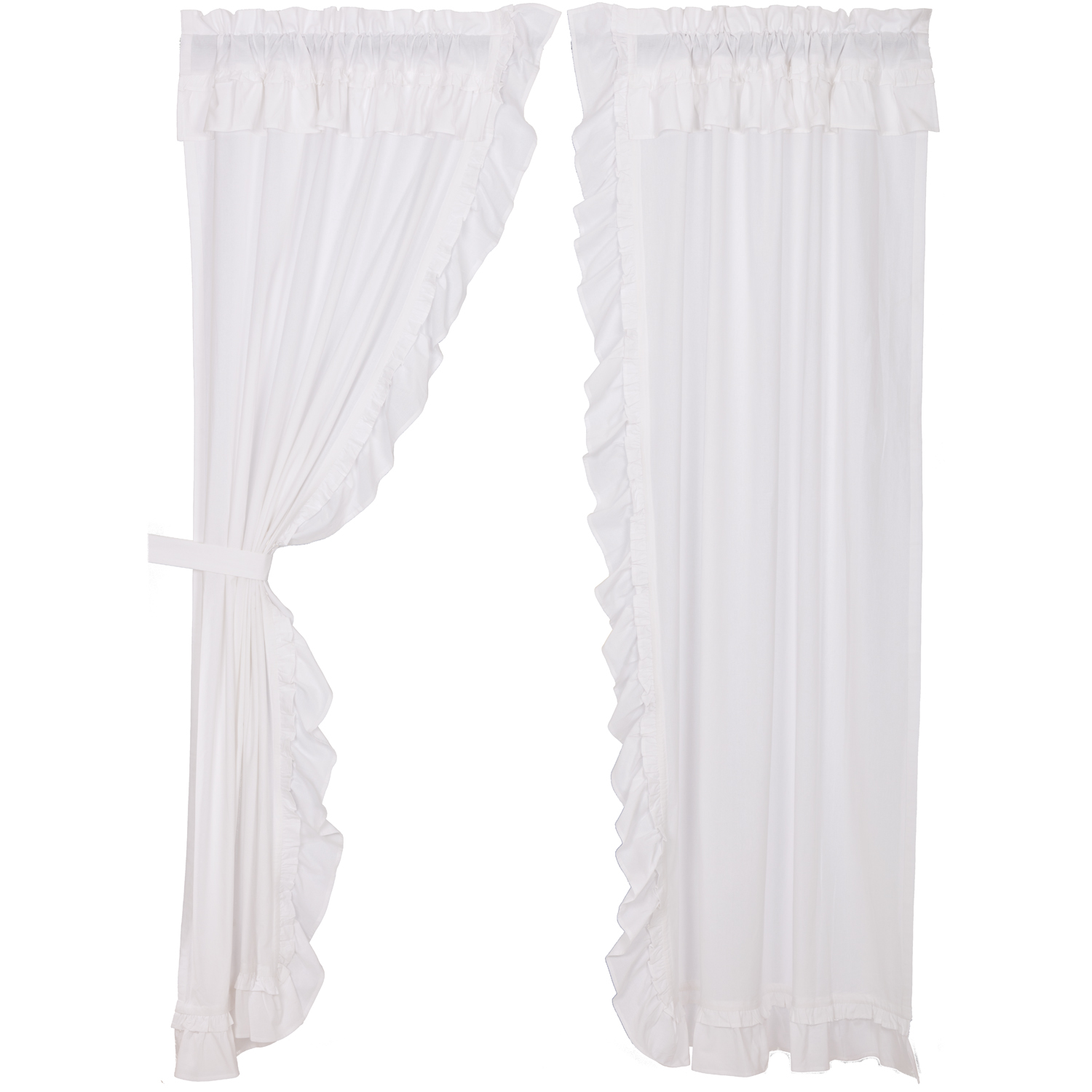 Muslin Ruffled Bleached White Panel Set of 2 84x40