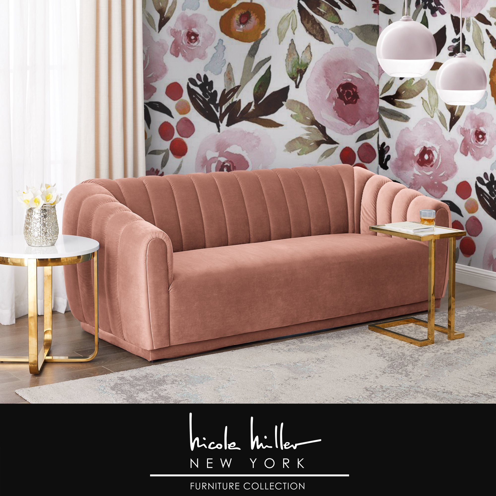 Nicole Miller Blush Velvet Sofa Channel Tufted Arms and Back Rolled Arms