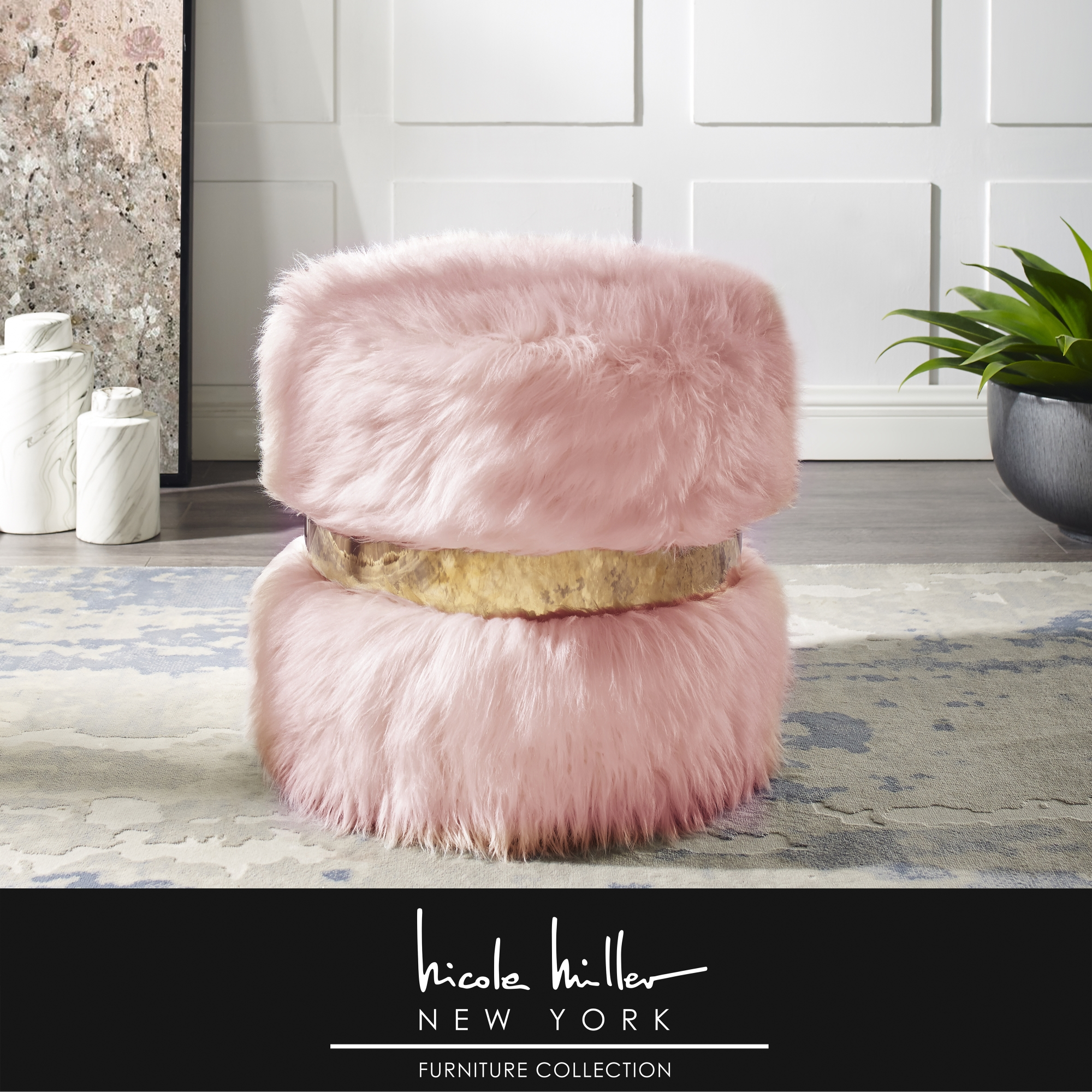 Nicole Miller Blush/Gold Faux Fur Ottoman Upholstered Gold Polished Band
