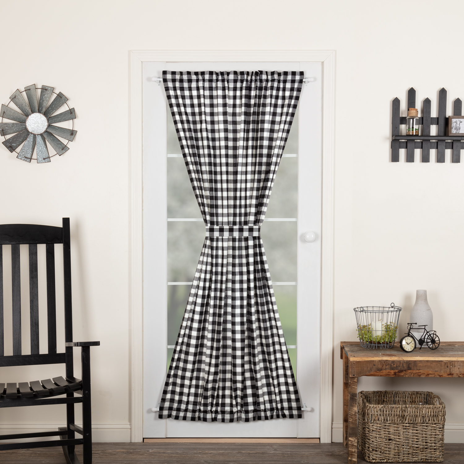 Annie Buffalo Black Check Door Panel 72x42