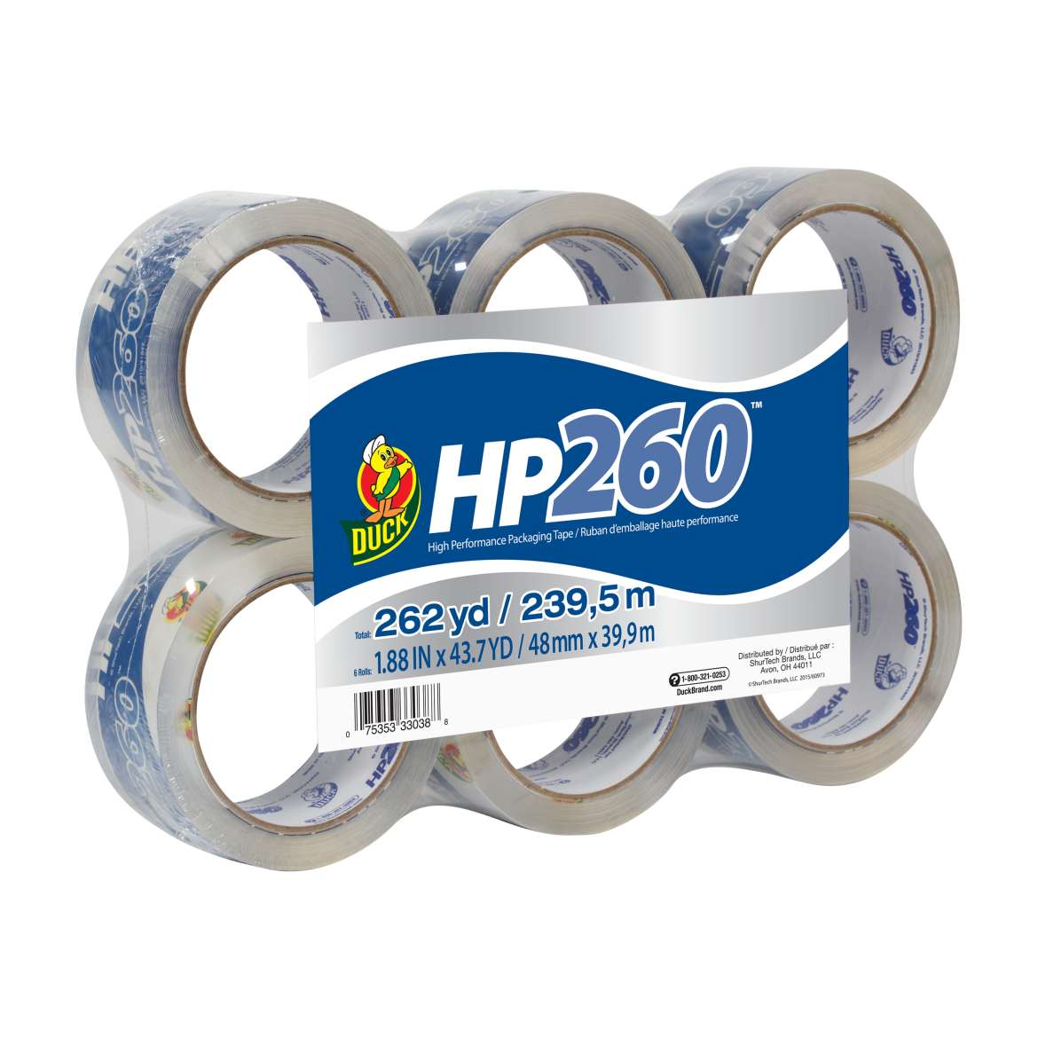 HP260™ Packaging Tape - Clear, 6 pk, 1.88 in. x 43.7 yd. Image