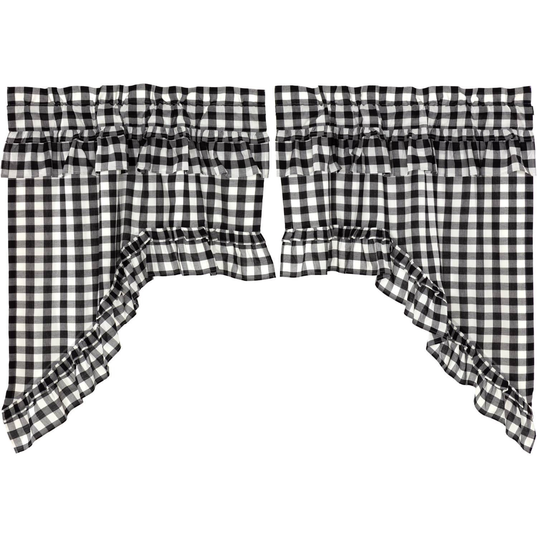 Annie Buffalo Black Check Ruffled Swag Set of 2 36x36x16