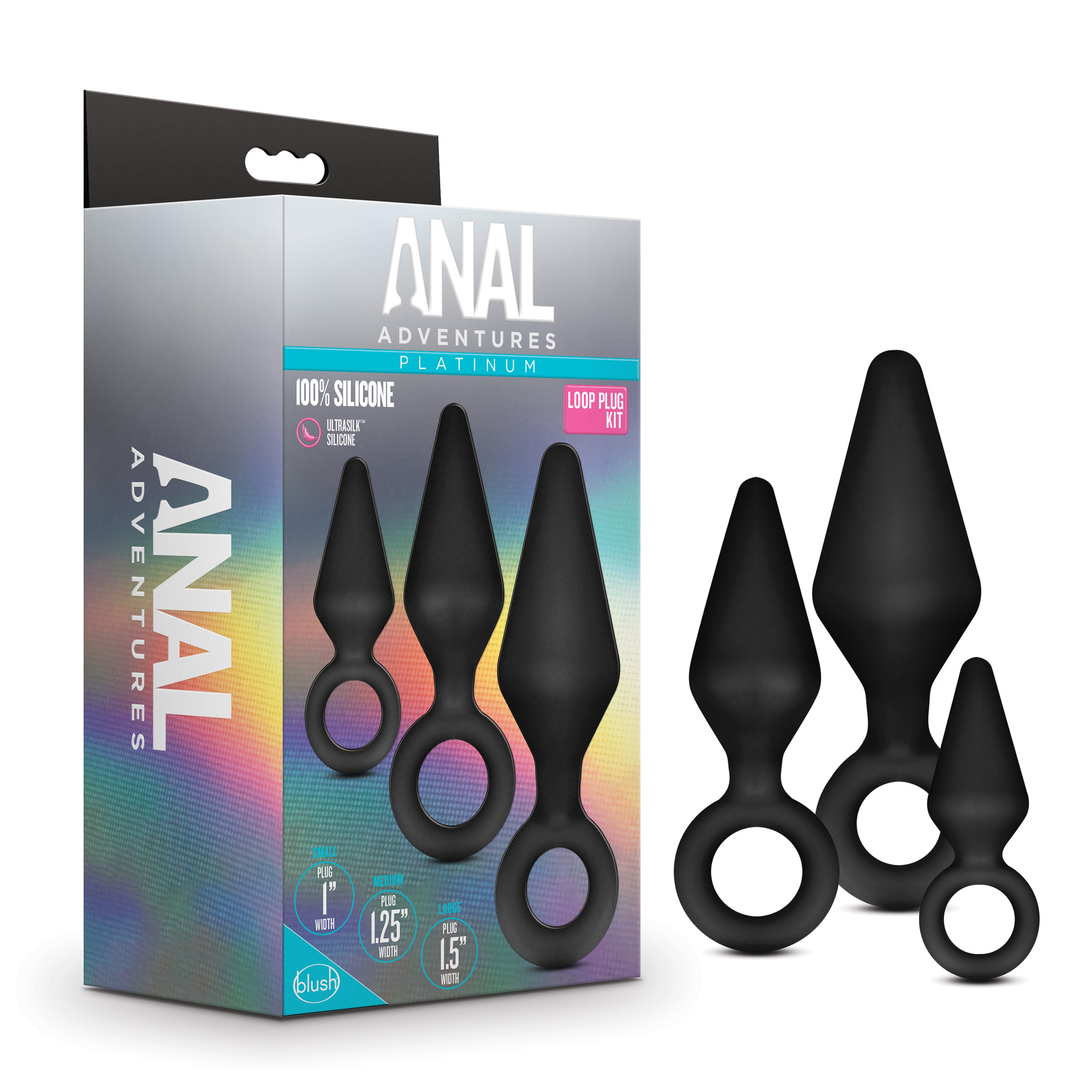 Anal Adventures Platinum - Silicone Loop Plug Kit - Black