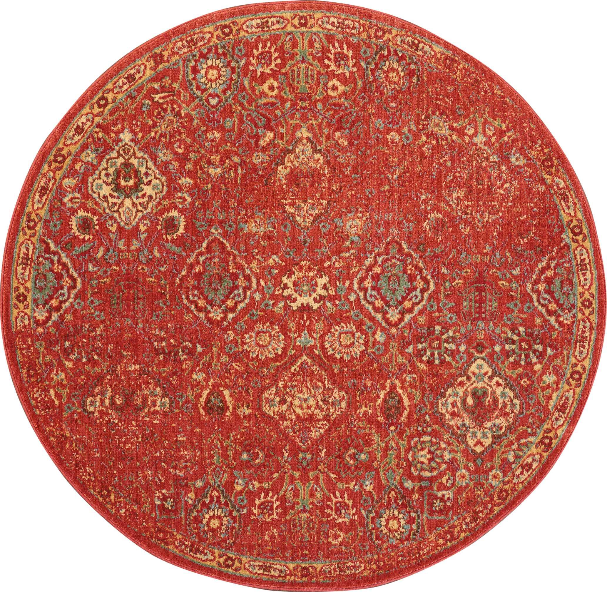Nourison Somerset 6' Round Red Oriental Area Rug