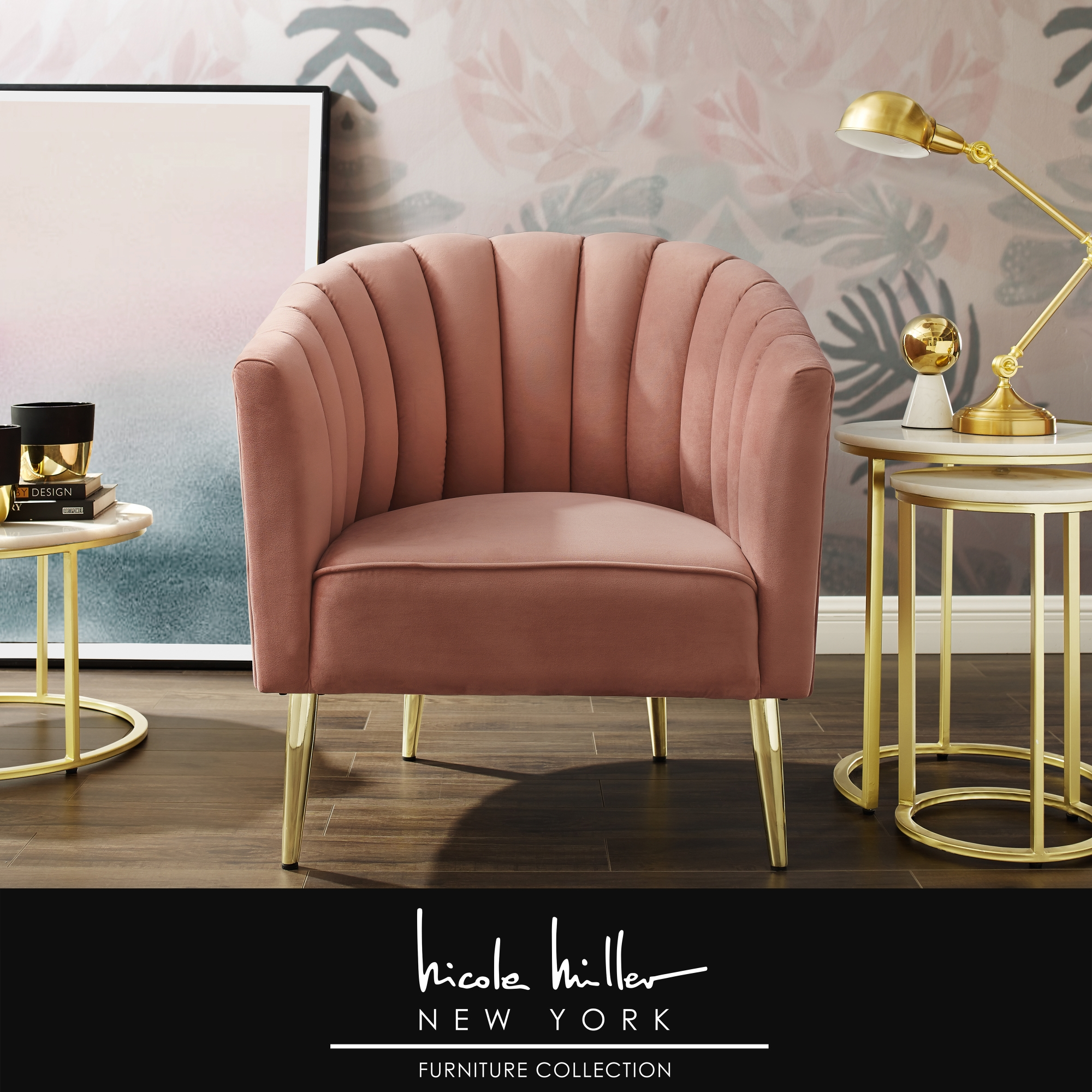 Nicole Miller Blush/Gold Velvet Accent Chair Upholstered Barrel Chair Channel Tufted Back and Rolled Arm