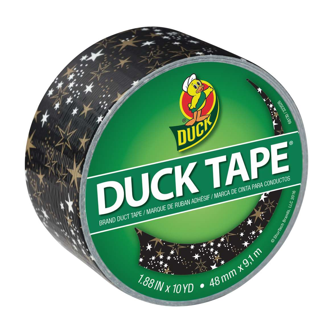 Printed Duck Tape® Brand Duct Tape - Metallic Gold Stars, 1.88 in. x 10 yd. Image