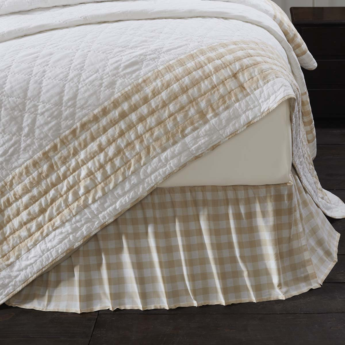 Annie Buffalo Tan Check Queen Bed Skirt 60x80x16