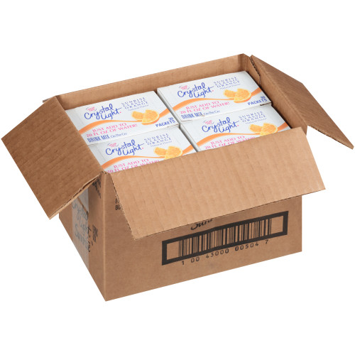 CRYSTAL LIGHT Single Serve Sugar-Free Sunrise Orange On-the-Go Powdered Mix, 30-0.16 oz. Packets (Pack of 4 Boxes)