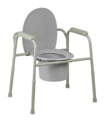 Commode Chair, McKesson, Fixed Arm Steel Frame Back Bar 16 to 21-3/4 Inch Height, 146-11105N-4 - Case of 4