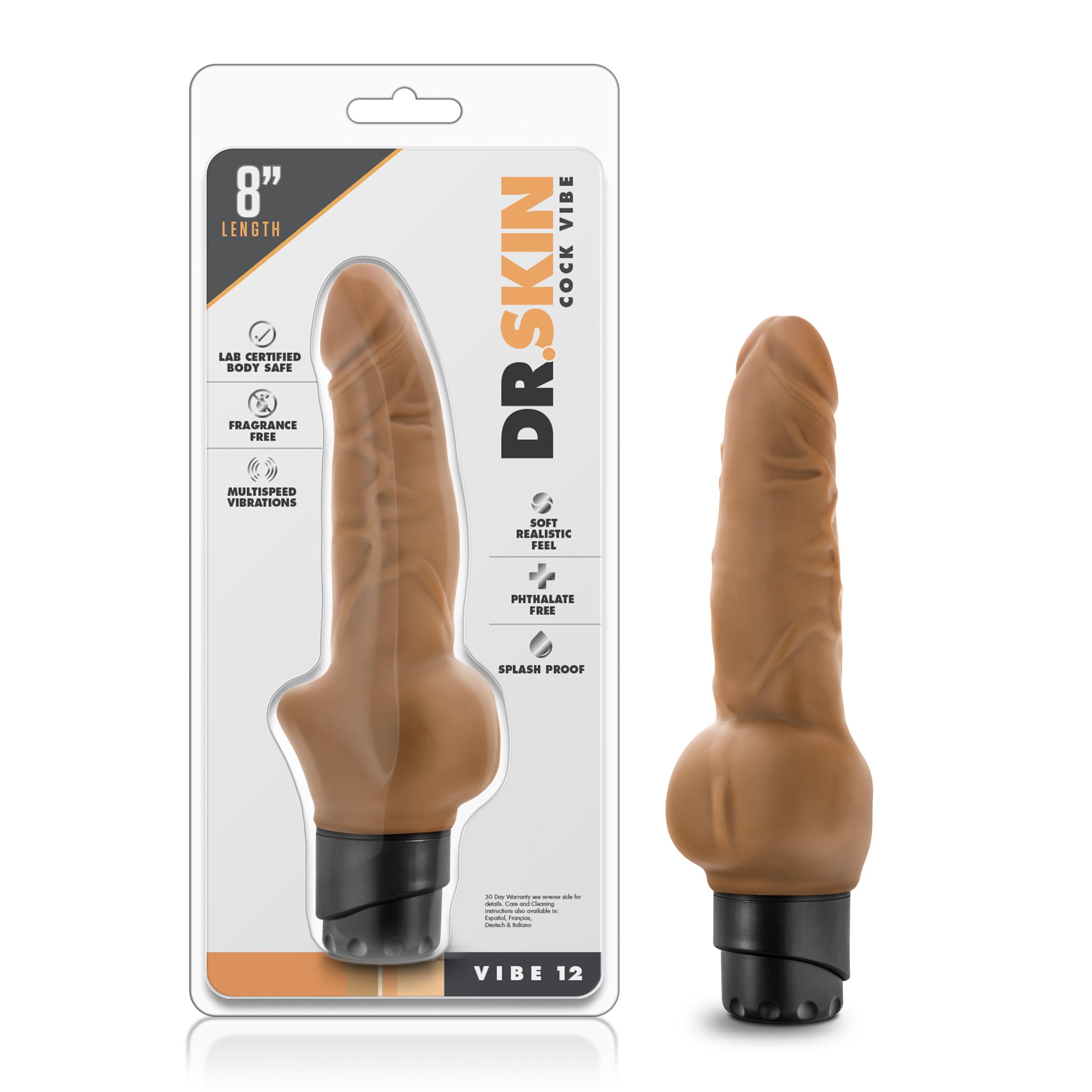 Dr. Skin - Cock Vibe 12 - 8 Inch Vibrating Cock - Mocha