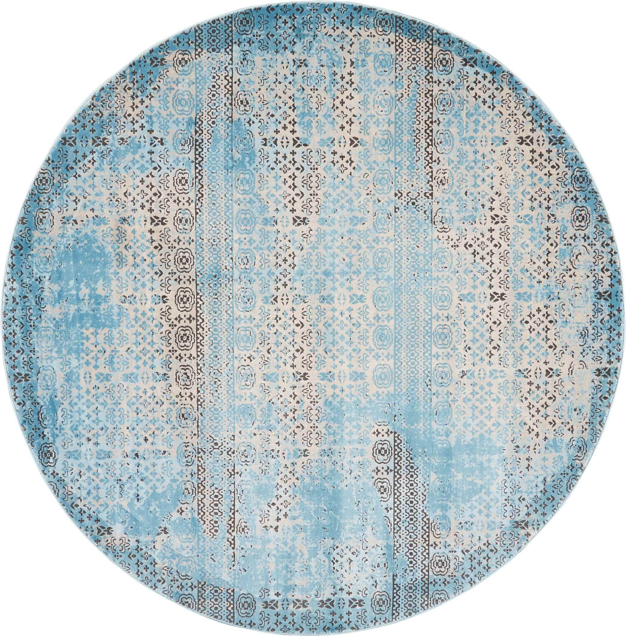 Nourison Karma 8' Round Blue Vintage Area Rug