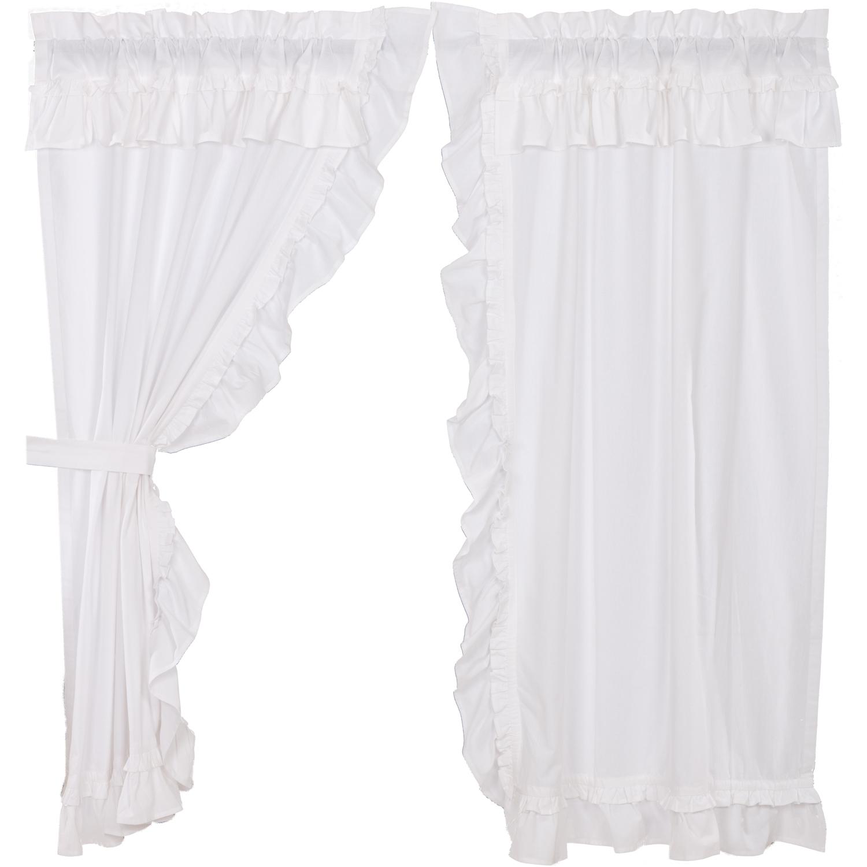 Muslin Ruffled Bleached White Short Panel Set of 2 63x36