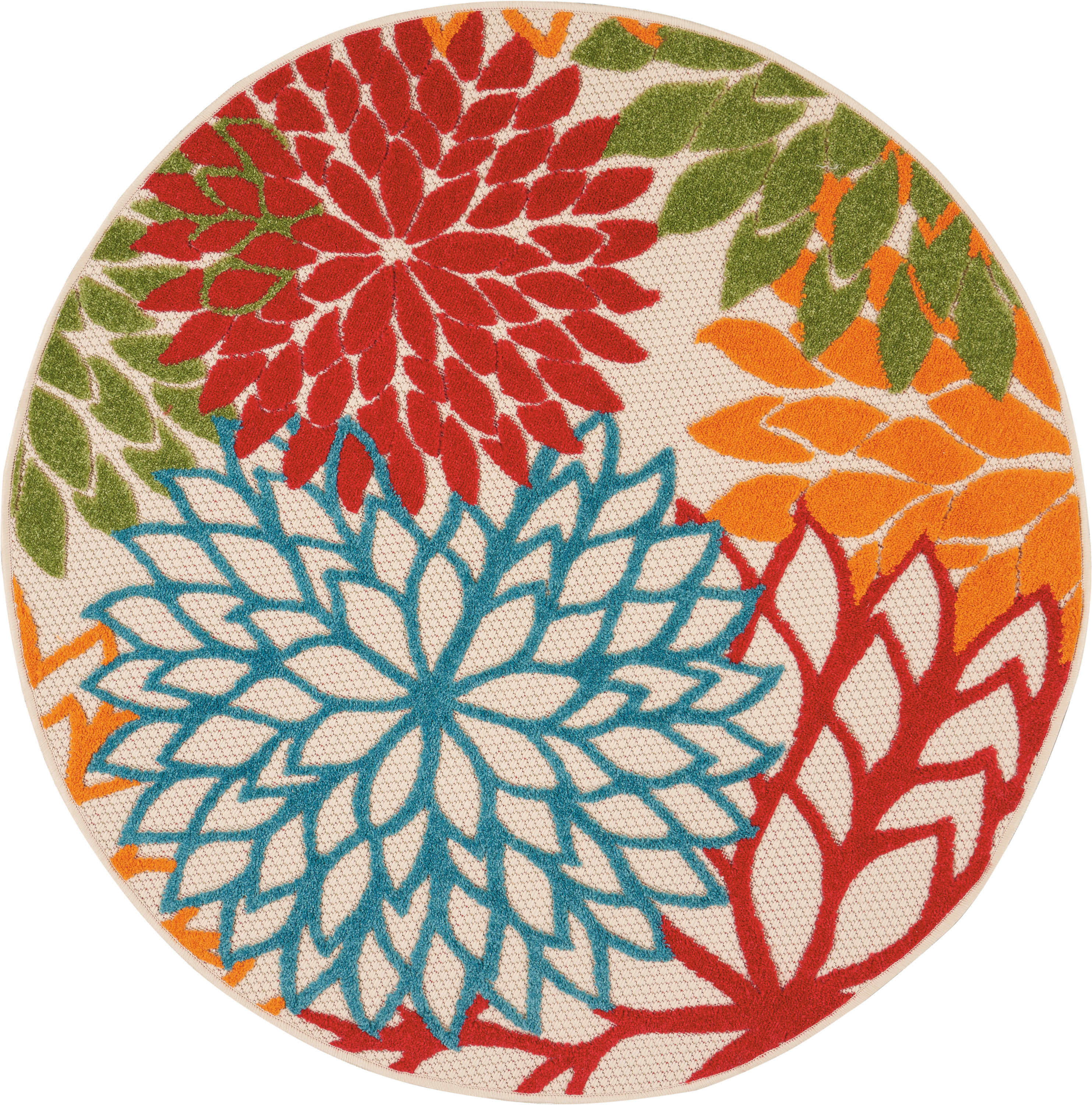 Nourison Aloha Alh05 Green 4' Round Indoor-Outdoor Area Rug
