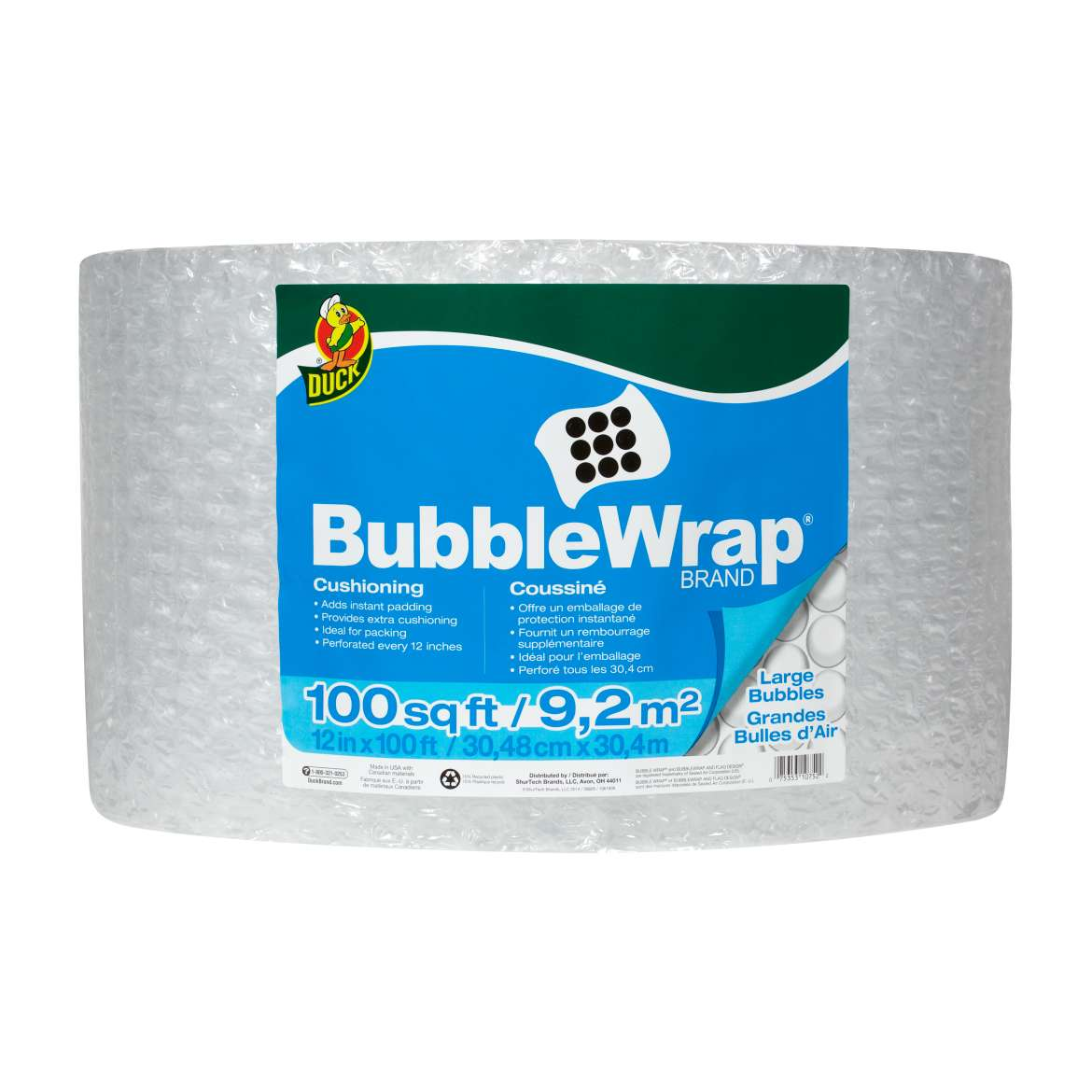 Duck® Brand Large Bubble Wrap® Cushioning - Clear, 12 in. x 100 ft. Image
