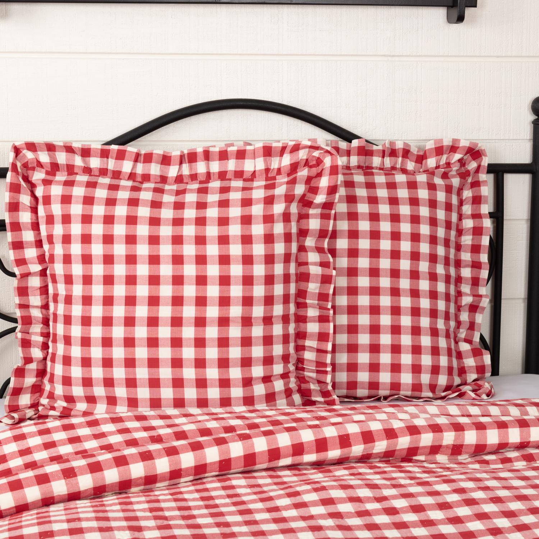 Annie Buffalo Red Check Fabric Euro Sham 26x26