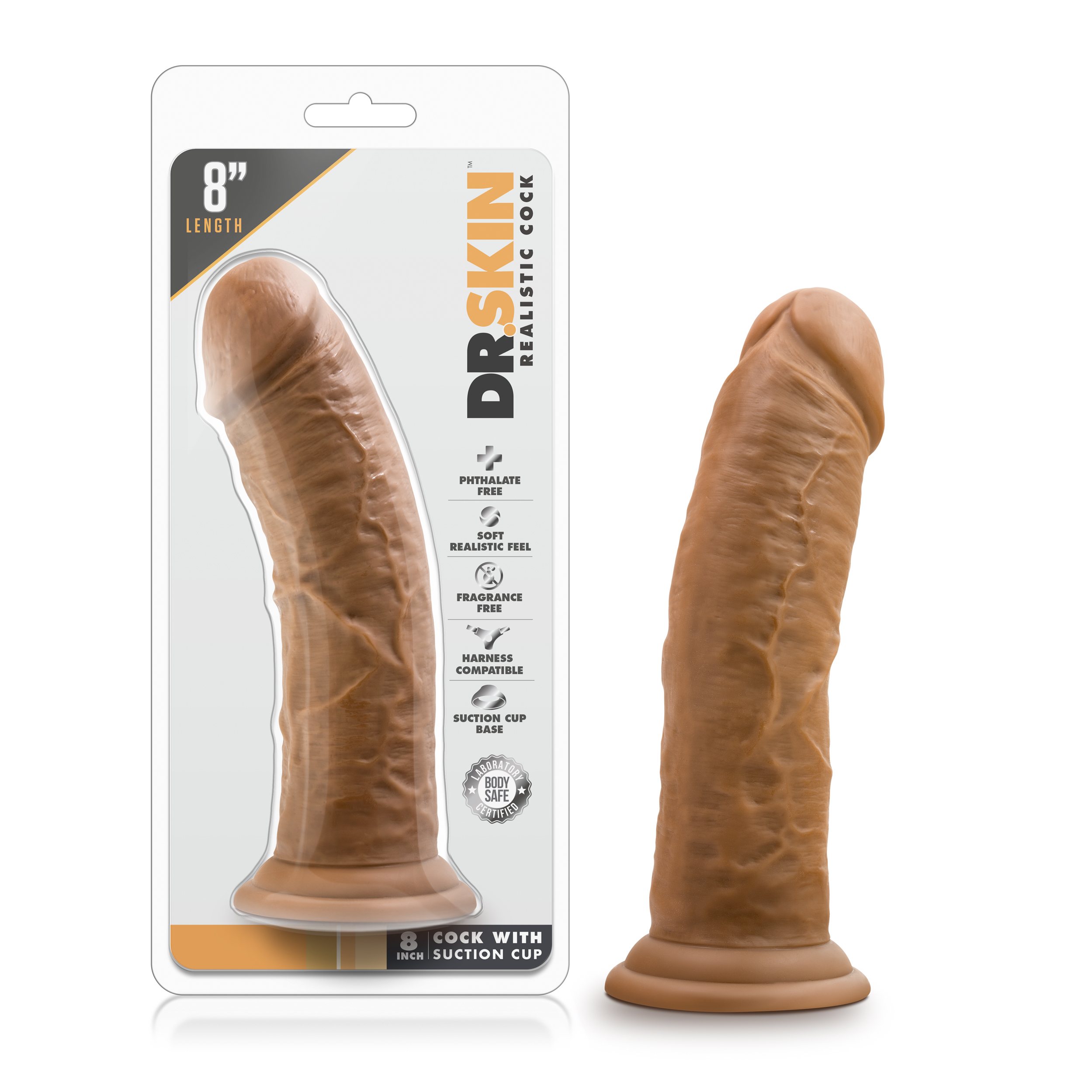 Dr. Skin - 8 Inch Cock With Suction Cup - Mocha