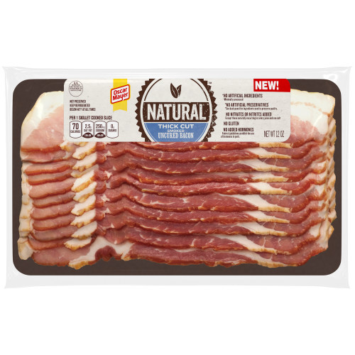 Oscar Mayer Natural Thick Cut Smoked Uncured Bacon, 12 oz