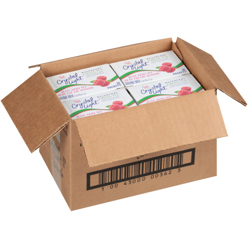 CRYSTAL LIGHT Single Serve Sugar-Free Raspberry Green Tea On-the-Go Powdered Mix, 30-0.1 oz. Packets (Pack of 4 Boxes)