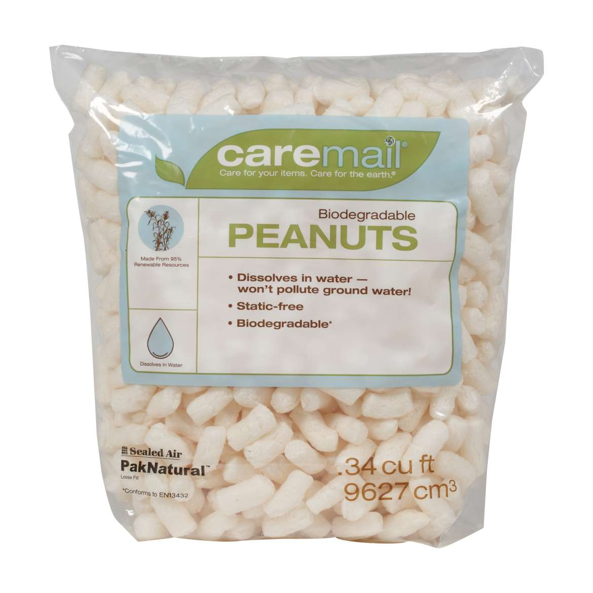 Caremail® Biodegradable Packing Peanuts - White, .34 cu ft. Image