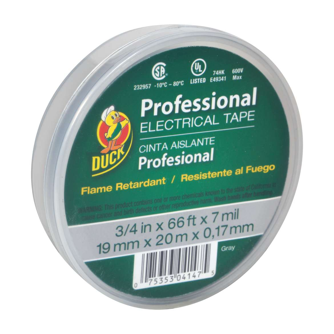 Duck® Brand Professional Electrical Tape Canister Pack - Grey, .75 in. x 66 ft. x 7 mil. Image