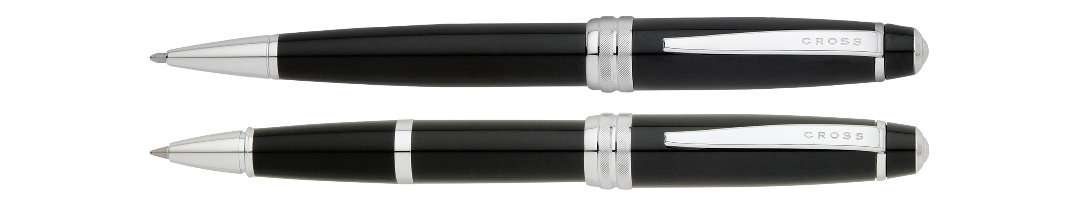 Bailey Black Lacquer Ballpoint and Rollerball Pen Set