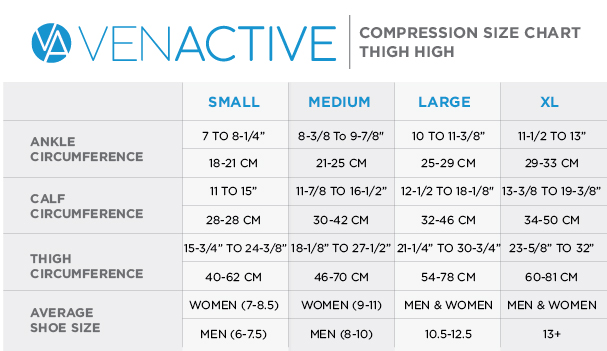 Venactive Thigh High Size Chart