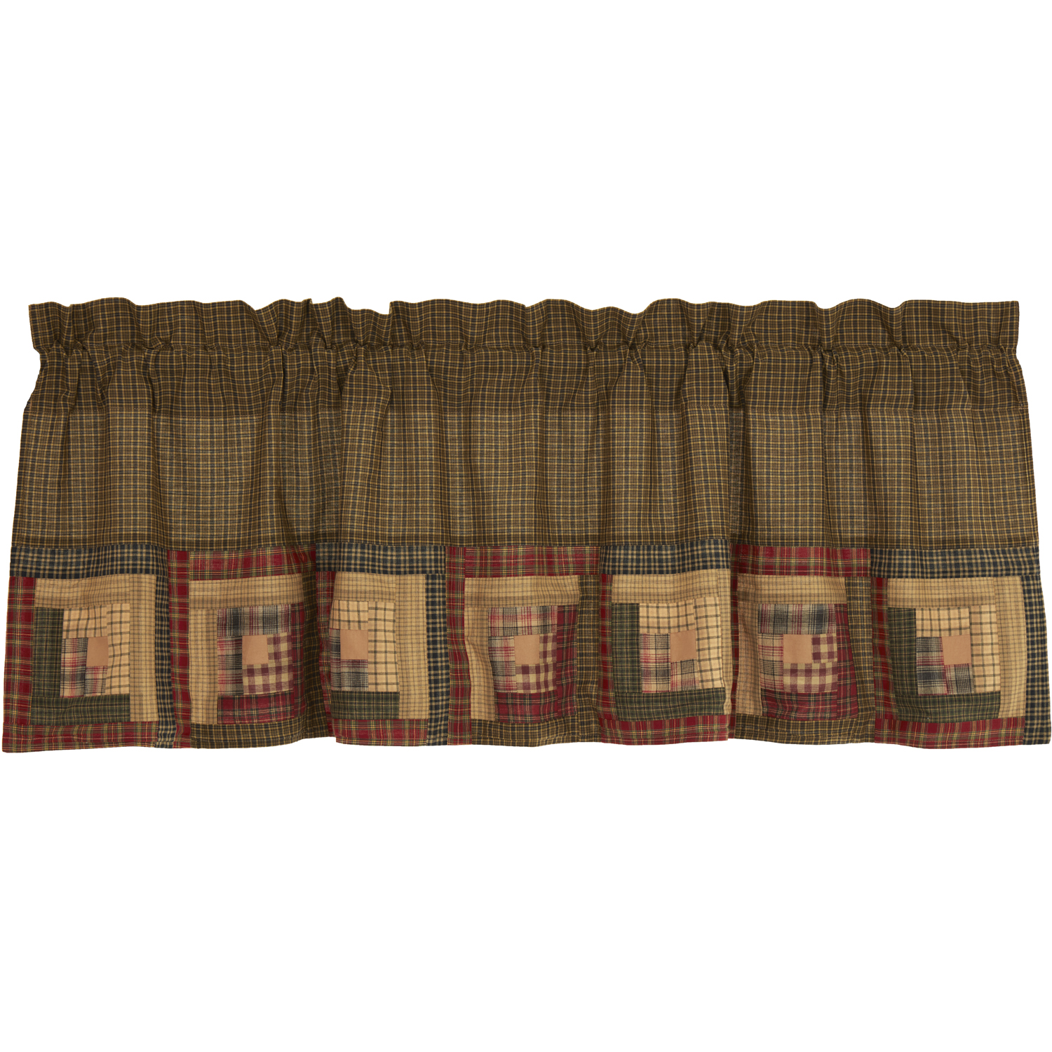 Tea Cabin Valance Log Cabin Block Border 20x60
