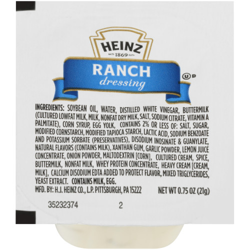 HEINZ Single Serve Ranch Dressing, 0.75 oz. Cup (Pack of 100)