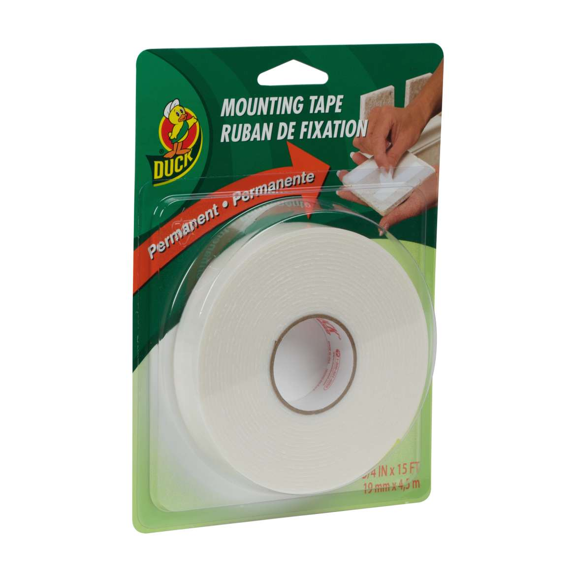 Duck® Brand Permanent Mounting Tape - White, .75 in. x 15 ft. Image