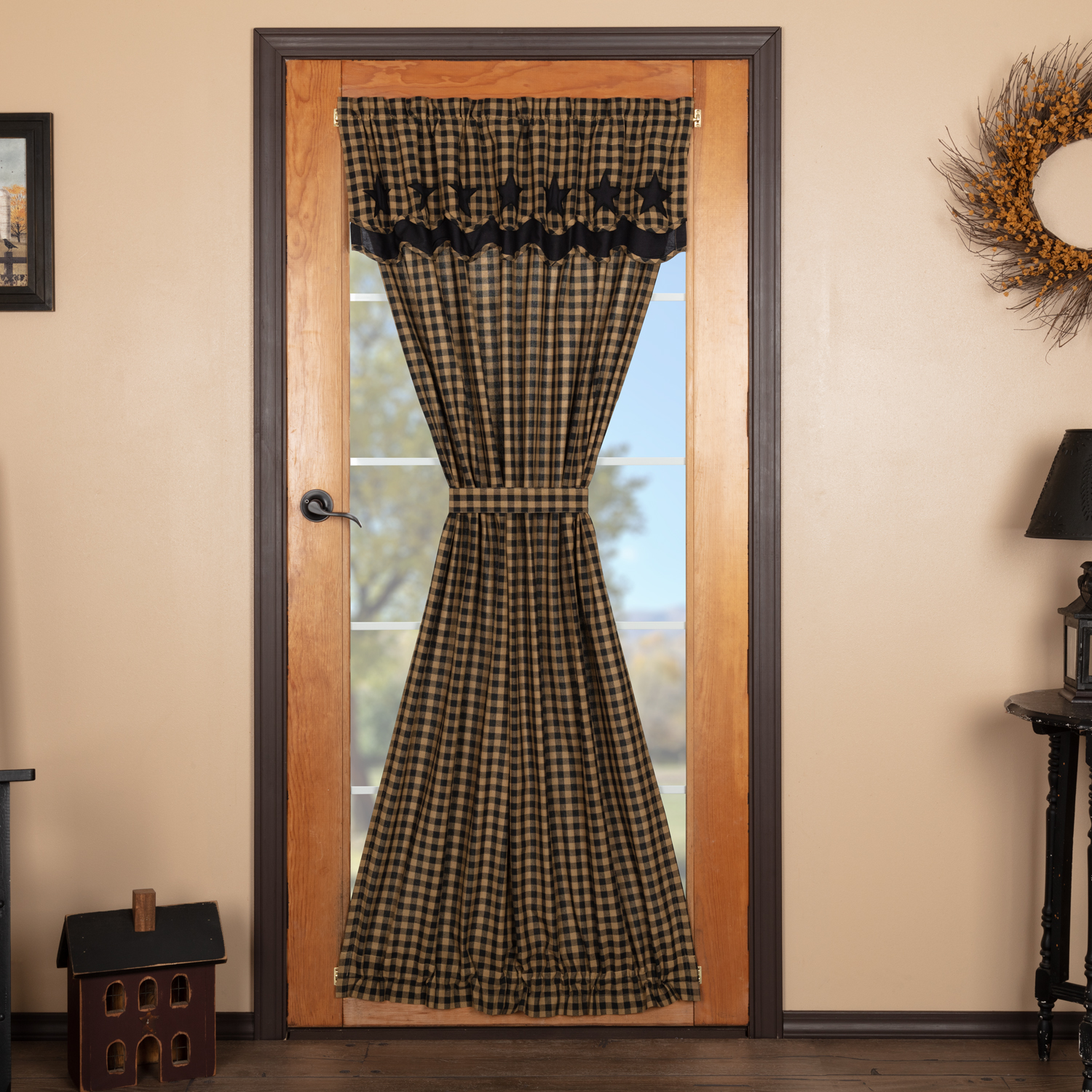 Black Star Door Panel with Attached Scalloped Layered Valance 72x42