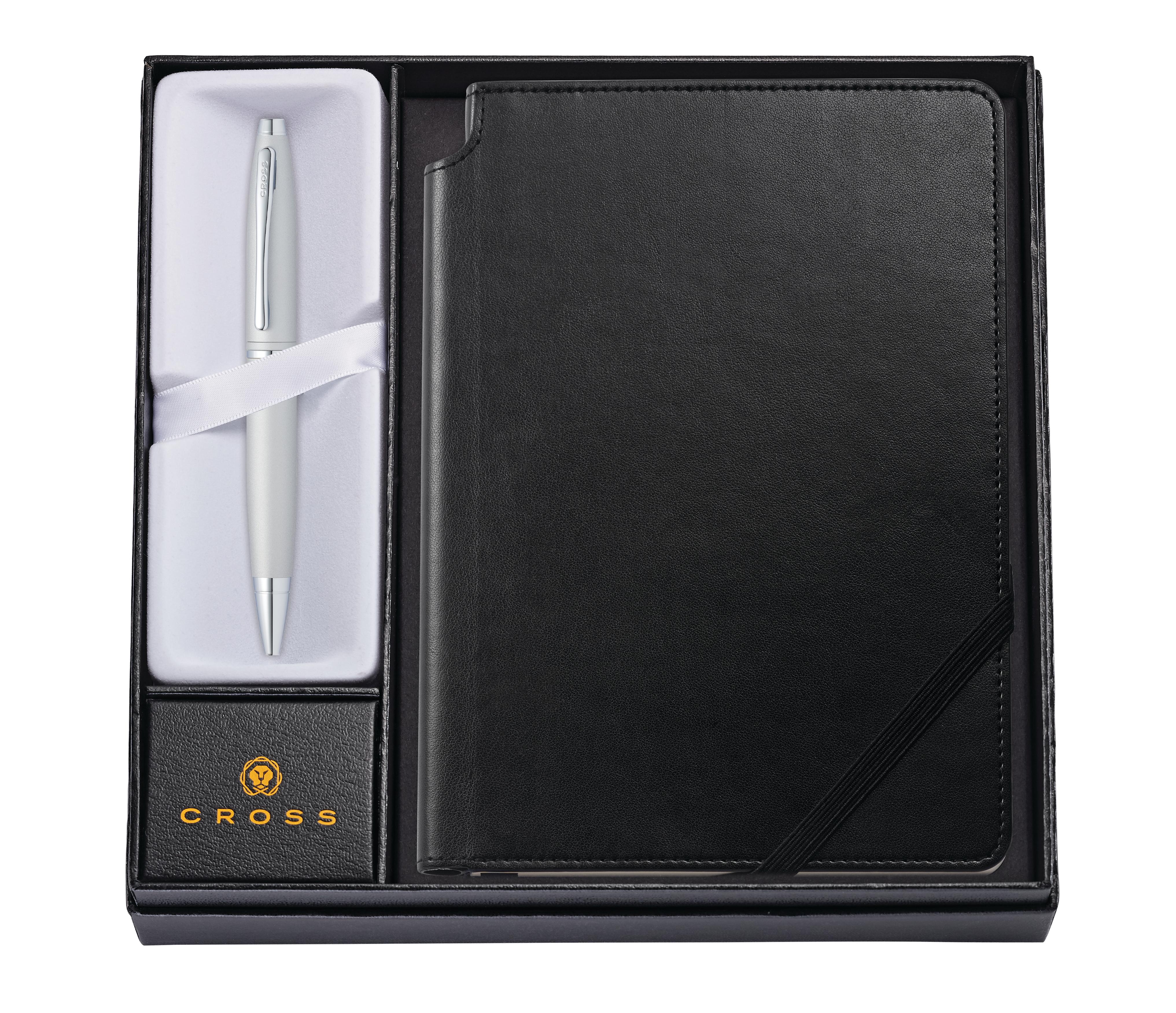 Calais Satin Chrome Ballpoint Pen with Medium Classic Black Journal