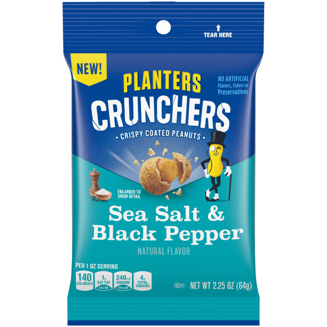 Planters Crunchers Snack Nuts Salt & Pepper 2.25 oz Bag