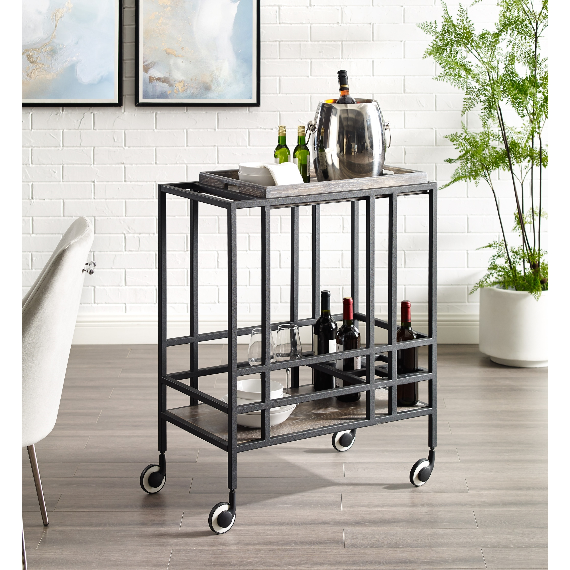 Inspired Home Black/Grey Bar Cart Removable Serving Tray Wine Bottle and Stemware Storage
