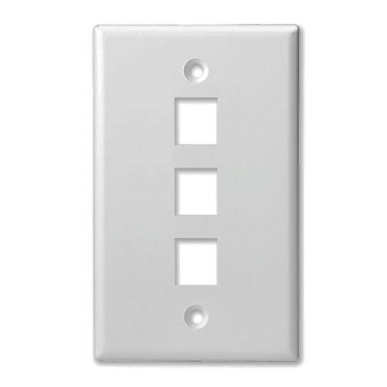 3Port White Keystone Wall Plate Wave Electronics