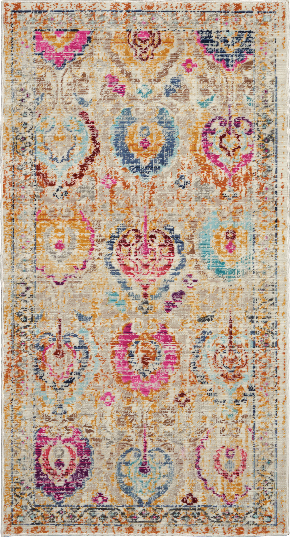 Nourison Vintage Kashan 2' X 4' Ivory Multicolor Persian Area Rug