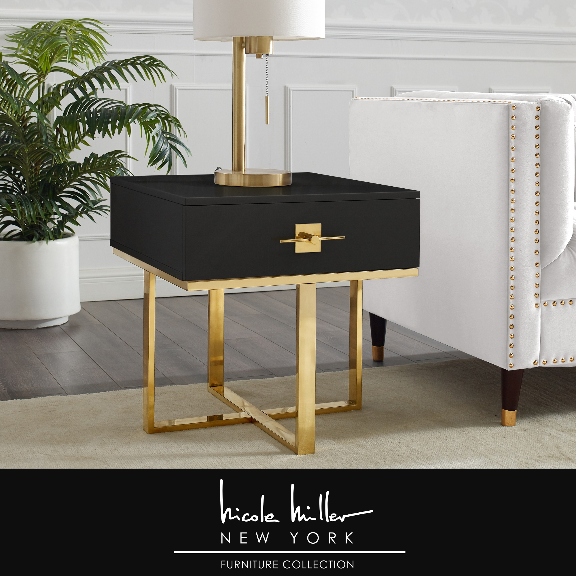 Nicole Miller Black/Gold Side Table 1 Drawer Hight Gloss Lacquer Finish