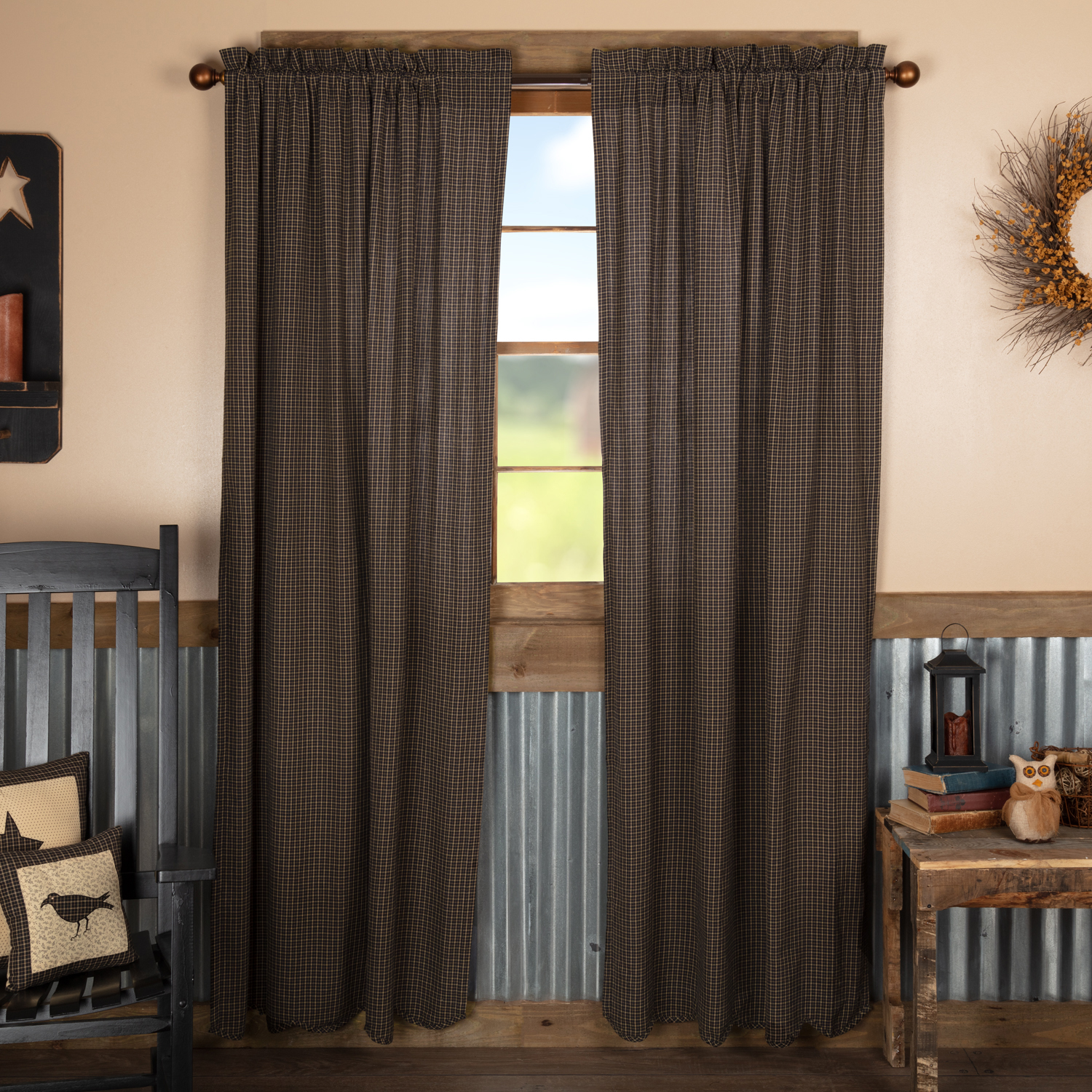 Kettle Grove Plaid Panel Scalloped Set of 2 84x40