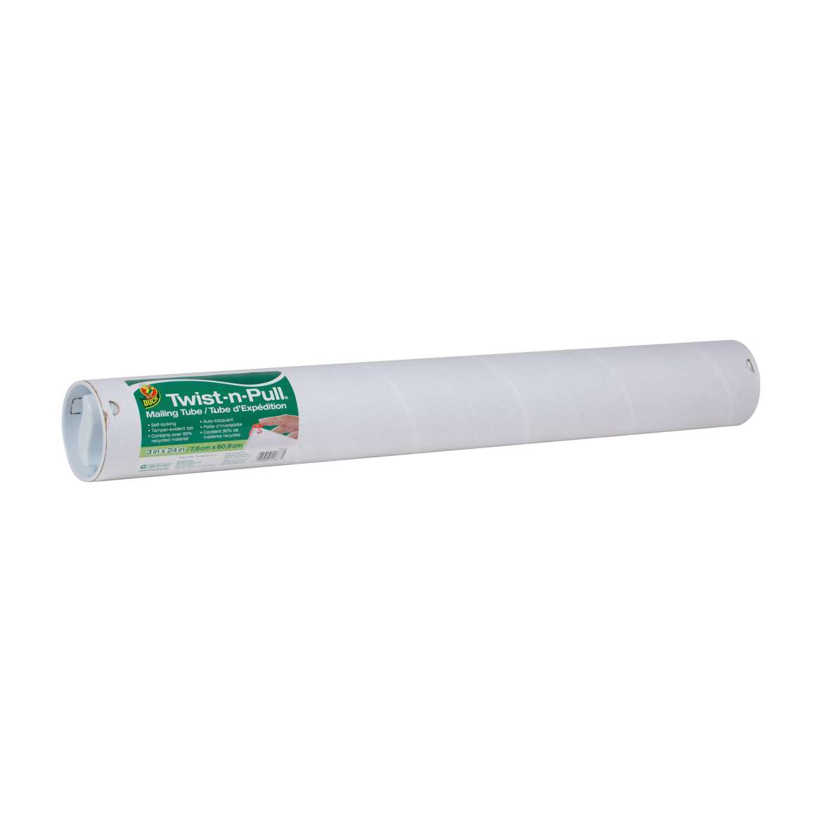 Duck® Brand Twist-n-Pull® Mailing Tube - White, 3 in. x 24 in. Image