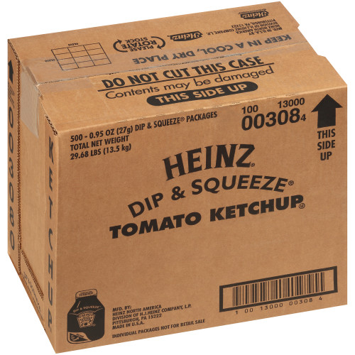 HEINZ Single Serve Ketchup DIP & SQUEEZE Packet, 27 gr. Container (Pack of 500)