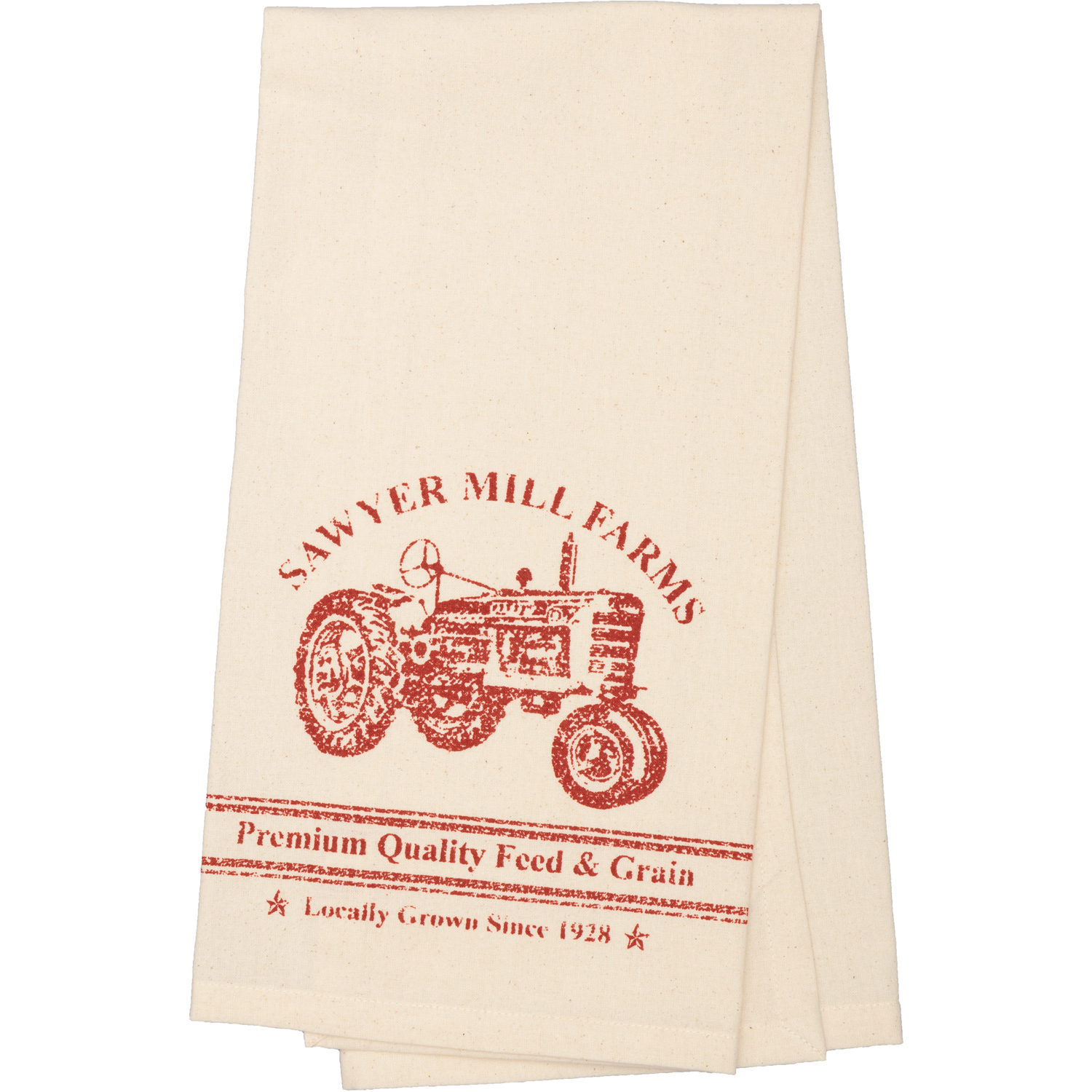 Sawyer Mill Red Tractor Muslin Unbleached Natural Tea Towel 19x28