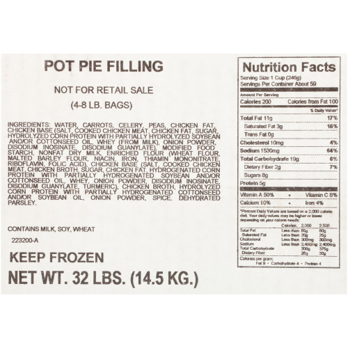 QUALITY CHEF Pot Pie Filling (No Chicken), 8 lb. Frozen Bag (Pack of 4)