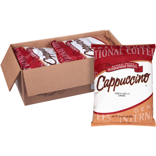GENERAL FOODS INTERNATIONAL CAFÉ French Vanilla Supreme Cappuccino Powder, 2 lb. Container (Pack of 6)