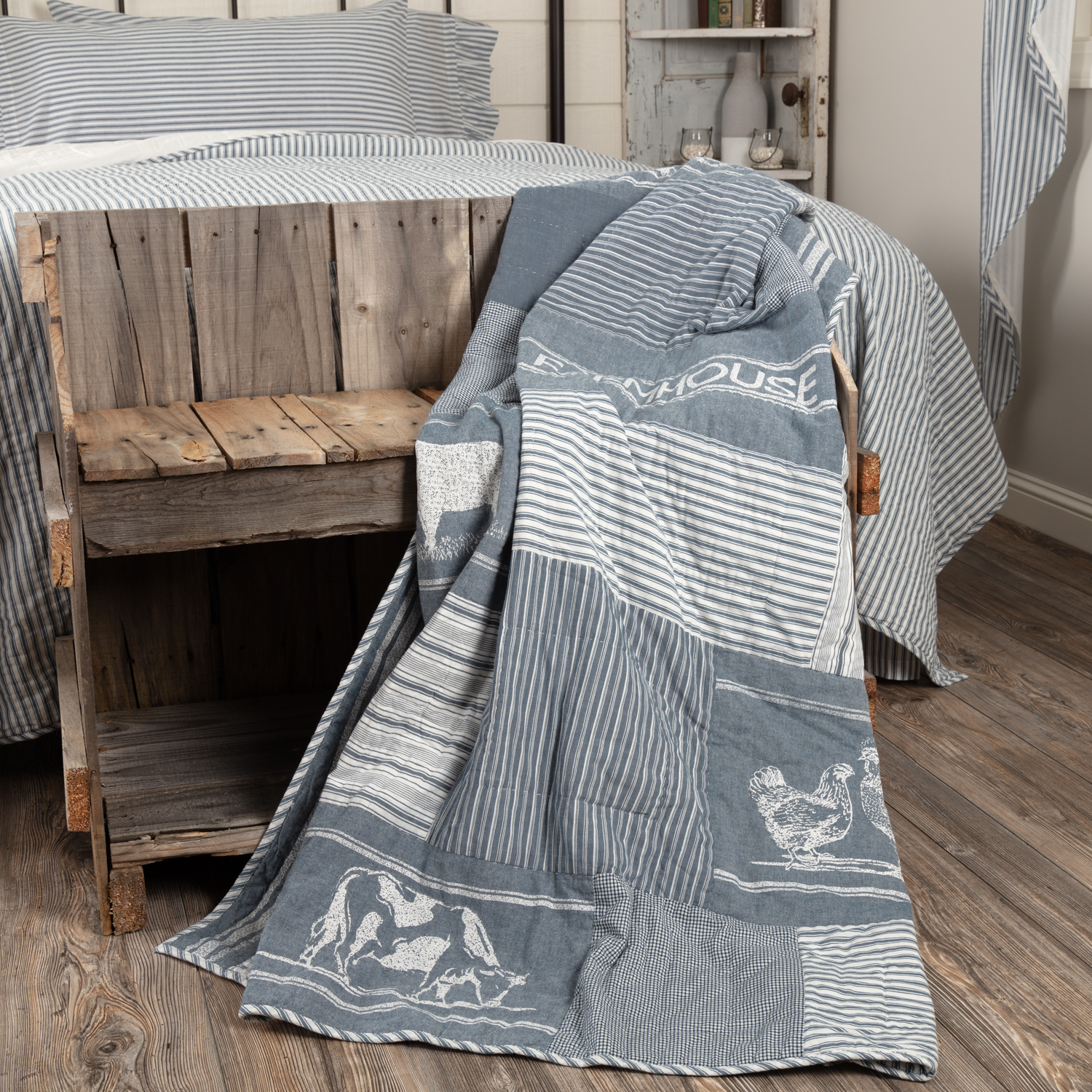 Sawyer Mill Blue Farm Animal Quilted Throw 60x50